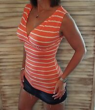 Very Sexy Striped Low Cut Cleavage Empire Faux Wrap Summer Tank Top Peach M