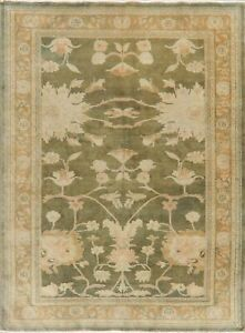 Antique Look Vegetable Dye Moos Green Oushak Egyptian Area Rug Hand-Knotted 5x7