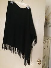 NEW wool cashmere poncho wrap black fringe one size warm cozy