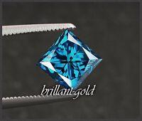 Diamant im Prinzess Schliff mit 0,35 ct + Zertifikat, Blau / Si1
