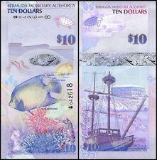 Bermuda 10 Dollars Banknote, 2009, P-59, UNC, Onion Prefix