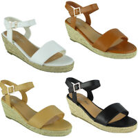 Womens Ankle Strap Wedges Ladies Espadrilles Comfy Low Heel Buckle Shoes Size