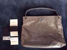 Authentic Prada Vitelli Shine Gray Grey Hobo Handbag Purse with Receipt