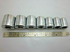 "Lot of 7 Vtg Craftsman 3/8"" drive SAE 12 point Sockets G&V&VV Series USA Tools"