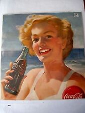 Striking 1940-50's Advertising Poster for Coca-Cola w/ Bathing Beauty *