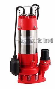 Sewage Pump, SS 1/2HP 115V, 26' lift, Max 3200 GPH. 20' Cable & plug, Heavy Duty