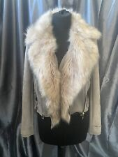 New River Island Grey Suede Jacket With Detachable Fur Size 8 #B