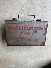 Vintage Halliburton First Aid Kit Metal Box Oil Field Drilling Truck