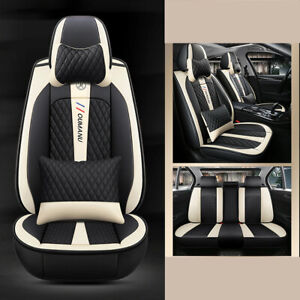 Car Seat Cover Protector+Cushion Front&Rear Full Set Luxury PU Leather Interior