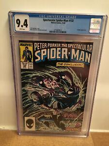 SPECTACULAR SPIDER-MAN 132 - 1987 - CGC 9.4 WHITE - Kraven Vermin