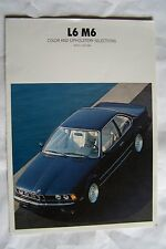 1988 bmw m 6 owners sales brochure m635  parts service e24  paint chart