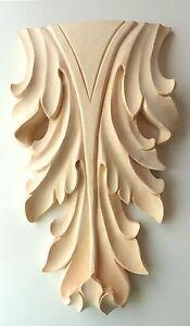 """7""""H, 9""""H, 12""""H, Hand Carved RED OAK, Linden Wood Leaf Applique Onlay Corbel"""