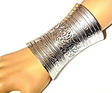 ORNATE SILVER CUFF wide metal gauntlet Ethnic bohemian wonder woman bracelet 1Z