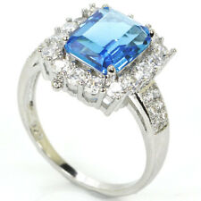 Hi End Swiss Blue Topaz S/ Silver 925 Ring Size 8.25 Weimaraner Rescue Charity