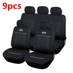 9pcs Polyester 5-Seat Car Seat Cover Cushion Protection For Interior Accessories