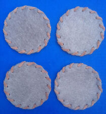 Western Cabin Lodge Decor Cowhide Round Rawhide Hand Laced Coasters