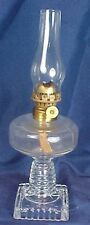 Antique Miniature Glass Kerosene Lamp Hobbs Optic Pattern Chimney Acorn Burner