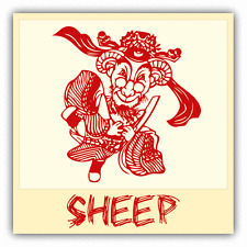 "Sheep Chinese Zodiac Sheng Xiao Humor Sign Car Bumper Sticker Decal 5"" x 5"""