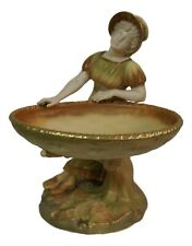 Antique Royal Worcester James  Hadley Figural Blush Porcelain Compote 9 1/4""