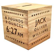 Personalised Wooden Money Box - Birth Christening Baptism Birthday Gift - Stars