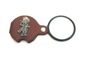 Mad Hatter Pewter Motif  PU Leather Magnifying Glass Alice in Wonderland Gift