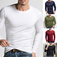 Men's Slim High/O-Neck Long Sleeve Muscle Tee Shirts Casual T-shirt Tops Blouse