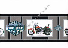 Genuine HARLEY DAVIDSON Logo Motorcycles Red Black Silver Gray Wallpaper Border