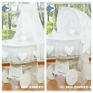 New My Sweet Baby Complete White Wicker Crib Cot - Love Hearts Hood or Drape