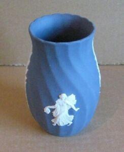 Wedgwood Jasperware Portland Blue Twisted Dancing Hours Vase