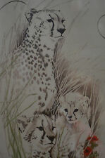"""GORGEOUS CHEETHA  WITH CUBS- FRAMED (SIGNED)  PICTURE 16x19"""" wood 1.25"""" thick"""