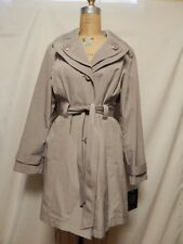 London Fog Hooded Single Breasted Belted Trench Raincoat Coat L Driftwood NWT
