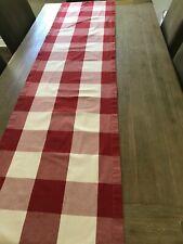 "Pottery Barn Buffalo Check Red & White Table Runner 18"" x 85"" EUC"