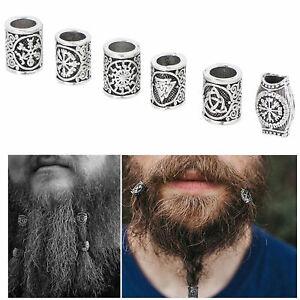 6Pcs/Lot Silver Viking Beard Beads Knot Hair Jewelry Bead Rune Dreadlock Braid