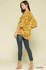 SML BLUHEAVEN by UMGEE MUSTARD floral Button down tunic/Blouse/shirt/Top BHCS