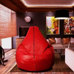 Bean bag Cover Leather Sofa Chair without Beans Red for Luxuries Bedroom Gift