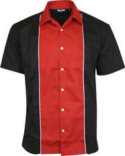 Cotton Blend Rockabilly Short Sleeve Casual Shirts for Men