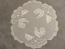 """New White lace Rooster  design Table Topper 30""""round"""