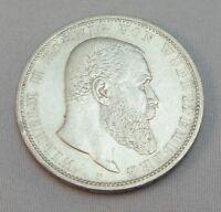 """Silbermünze 5 Mark  DR Münze Silber  Wilhelm II von Wuerttemberg 1903 """"F"""" VZ"""