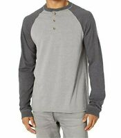 Hanes Men's Beefy-T Long Sleeve Colorblock Cotton Henley Shirt Gray Size S