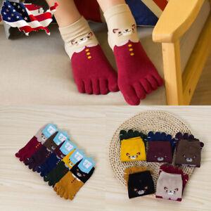5 Pairs Women Cotton Toe Socks Five Finger Socks Casual Sports Ankle Low Cut USA