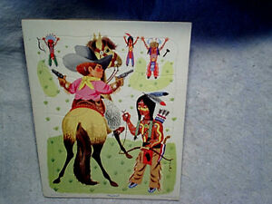 PLAYSKOOL COWBOY AND INDIANS TRAY PUZZLE golden press inc.80-5D,horse,guns