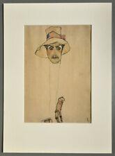 Egon Schiele Ltd Ed. Faksimile Lithograph XXL Erwin Dominik Osen Schlapphut 1910