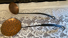 Copper Ladle & Strainer Forged Steel Handles 16""