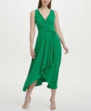 $100 Dkny Women'S Jersey Faux Wrap Handkerchief Casual Soft Green Dress Size 14