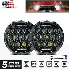 "2X 7"" INCH LED Headlight Hi/Lo Beam DRL For Jeep Wrangler JK LJ TJ Dodge Chevy"