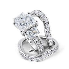 Silver Wedding Engagement Ring Set 4-9 5.8Ct Emerald Cut Cut 925 Sterling