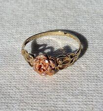 Vintage 10k OR Yellow Gold Ring Rose Black Hills Gold 3D Rose Flower Size 8