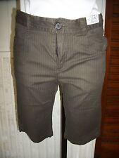 Pantacourt short bermuda coton marron rayé stretch IKKS W28 36/38 16ET41