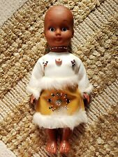 Native American Doll 1985 Wearing leather outfit, genuine fur trim & beaded