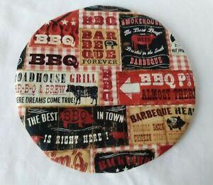 "Everyday BBQ Beef Sausage Patchwork  Hot Pad Centerpiece Trivet 9"""